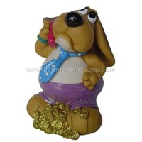 Polyresin dog saving bank