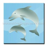 Ocean Series Dolophin Crystal Glass Tile