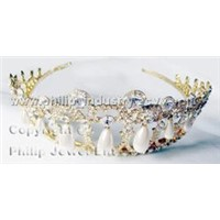 Wedding Tiara with Genuine Crystals & Faux Pearls