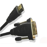 HDMI-DVI HDMI A Type to DVI-D Male Cable with Gold