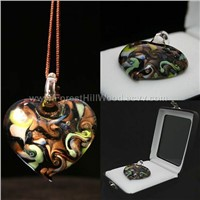 Chinese Colored Glass Necklace-Silver Background