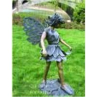 FAIRY BRASS SCULPTURE PIPED