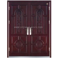 Double Steel Wooden Door with Carved