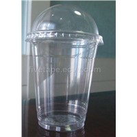 PET cup with dome lid,disposable plastic cup
