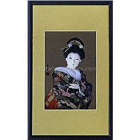 Oriental wall decor shadow box