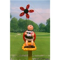 pottery/ceramic garden stick with windmill