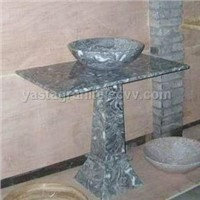 Stone Sink, Stone Sink with Iron Shelf, Stone Sink Pedestal