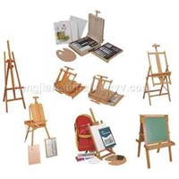 wood box,paint set,manikin,easel,