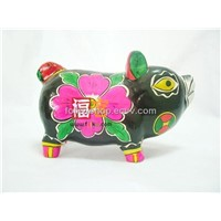 Painted Clay Sculptures - Color Pig