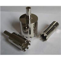 Vacuum brazed diamond core bit with thread