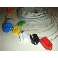 Datex one piece cable with 5-lead IEC grabber leadwires