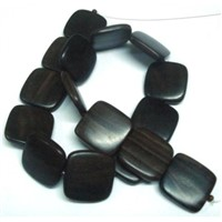 Tiger Ebony Flat Square Wood Beads 25x25x5-6mm Center Side Drilled (TEWF-2568)