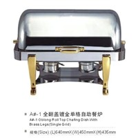 Oblong Roll Top Chafing Dish With Brass Legs(single grid)