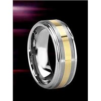 Tungsten Ring with Gold Inlay