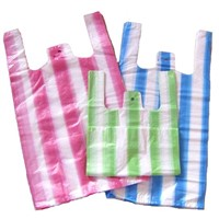 plastic bags,t-shirt bags striped