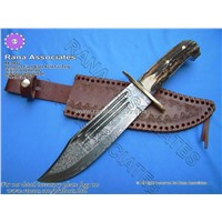 Damascus Bowie Knife in Stag