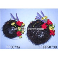 artificial flower nest,bird nest,bird decoration,twig nest