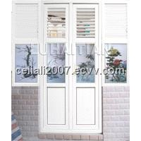 PVC casement door with louvers