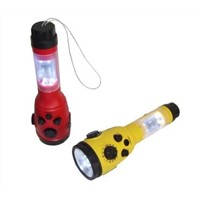 Crank LED flashlight with radio