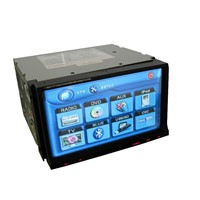 Double din car dvd with 7 inch touch screen/bluetooth/IPOD in/USB/SD/GPS/RDS
