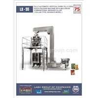 FULLY AUTOMATIC VERTICAL FFS POUCH PACKING MACHINE WITH MULTIHEAD COMBINATIONAL WEIGHER FILLER.