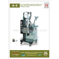 FULLY AUTOMATIC VERTICAL FORM, FILL AND SEAL TEA BAG PACKING MACHINE WITH THREAD & LABEL.
