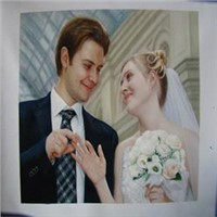 Wedding portrait oil painting