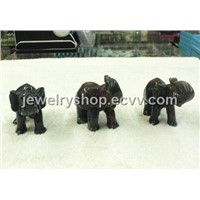 India Agate Elephant Carving