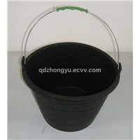 black barrel,construction pail,household container,rubber bucket