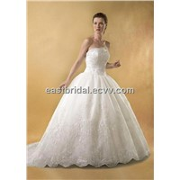Sweetheart Satin& Organza a-Line Inspired Floor Length Elegant Bridal Gown DEWD0014