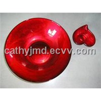Red Painting Glass Bowl