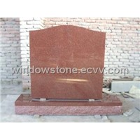 Serpentine Top Upright Headstone - India Red