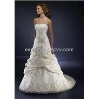Strapless A-Line Brush Train Elegant Bridal Gown