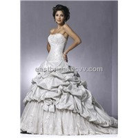 Strapless A-Line Floor Length Satin Elegant Bridal Gown (Dewd0020)