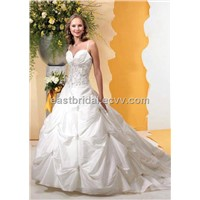 Sweetheart A-Line Pick-Up Floor Length Elegant Bridal Gown dewd0015