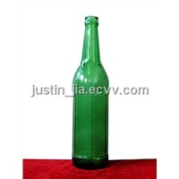 green glass beer bottle