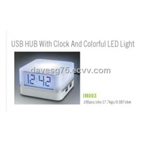 USB Hub with Clock & LED Lights