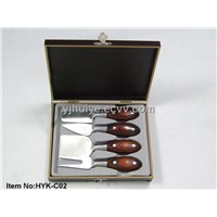 4 pcs Cheese knife set wooden handle Cheese tool set