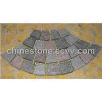 Porphyry paving stone on mesh