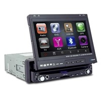 "in dash car DVD, 7"" touch screen, 1 DIN size, GPS"