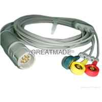 Drager 3-Lead ECG Cable with 3-Lead Iec Snap ECG Leadwires