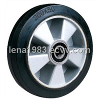Rubber wheel with aluminum centre