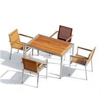 SS Teak Dining Table and Armchair