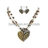 Heart Pendant Necklace and Earrings Sets (MMS0165-B3T)