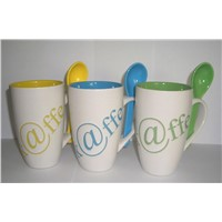 Ceramic Coffee Mugs with Spoon