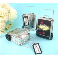 wedding favor suitcase candy tin box