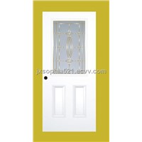 two panels steel door with tempered glass