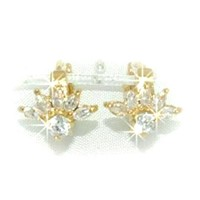 18K Flower Shape Crystal Earrings
