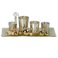 Glass candle set, candle holder, candle plate
