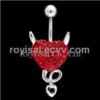 Crystal Edge Piercing Jewelry Open Heart (PBJ-875-3)